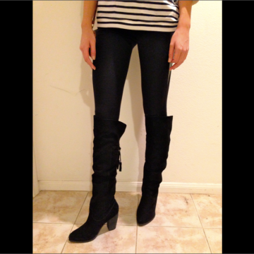 Breton top, leather panel leggings, suede knee-high boots, and yellow scarf