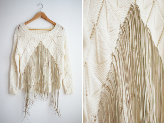 DIY Fringed Knit Sweater from Pair and A Spare