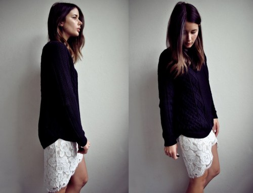 Grandpa dark knit sweater and white lace skirt via Harper and Harley