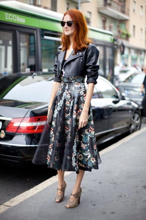 Black leather jacket and feminine floral dress via Because I'm Addicted