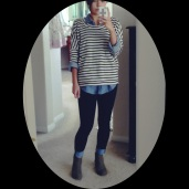 Striped breton top over chambray with dark denim skinnies and boots.