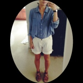 Chambray tucked into white linen shorts with sandals.