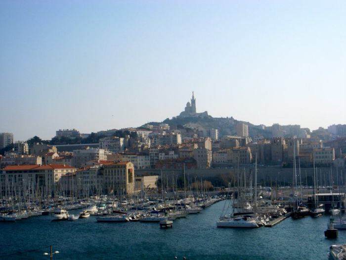 Views of Notre-Dame de la Garde from the port