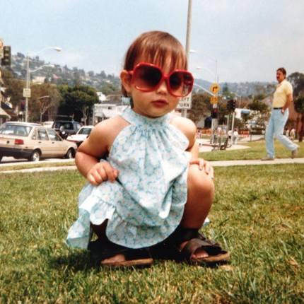 My sister Michele in Daddy's Birkenstock sandals