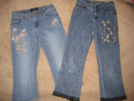 Throwback to the bedazzled flares (a la The Limited Too) of our youth