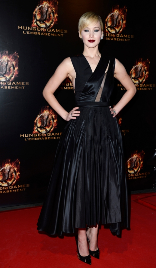 Jennifer Lawrence at the 'The Hunger Games: Catching Fire' Paris Premiere At Le Grand Rex.