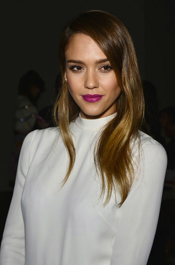 The immaculate being that is Jessica Alba with a vibrant fuschia lip and soft ombre locks.