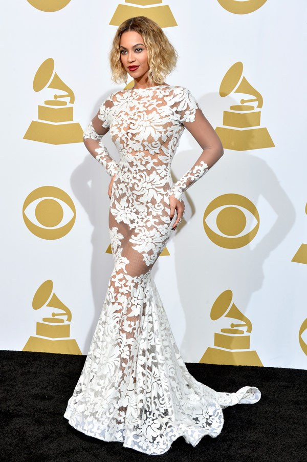 Beyonce in Michael Costello Couture Grammy Awards 2014