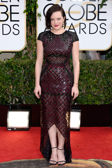 Elisabeth Moss in J. Mendel with Jennifer Meyer jewels