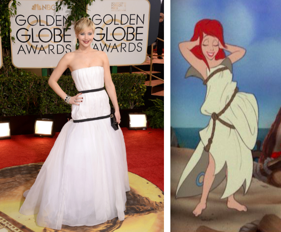 Jennifer Lawrence in Dior Haute Couture; Ariel in rags.